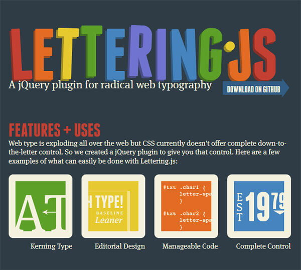 Lettering - 15 flashy jQuery plugins