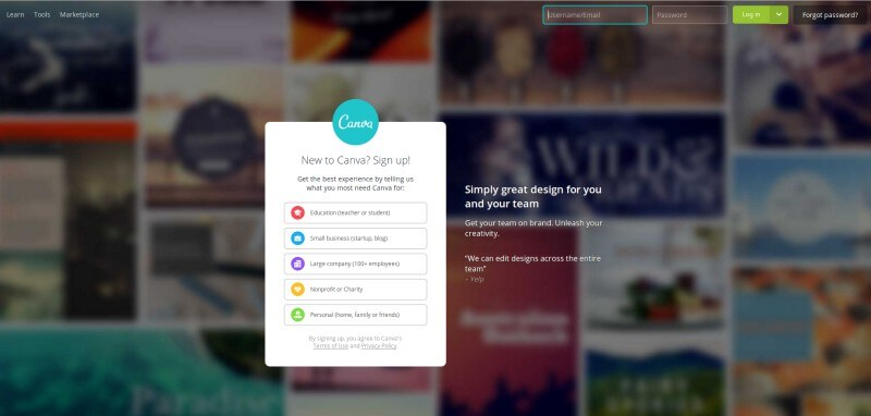 canva - Create online photos of any software, in free